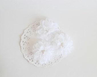 "3 pcs - White Crepe flowers - Frayed Flower - Fabric Flower - 2 3/8"" Flowers"
