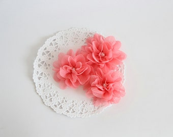 "3 pcs - Coral Crepe flowers - Frayed Flower - Fabric Flower - 2 3/8"" Flowers"