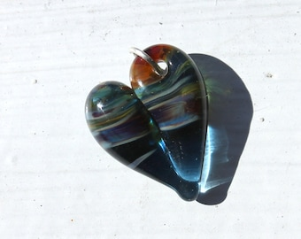 Blue Heart Glass Charm, Jewelry Lampwork Hand Blown Boro Sky Blue Small