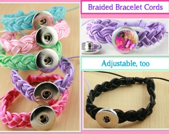 Braided Bracelet - Works with  Snap Jewelry. Adjustable - no need for Lobster clasp closure.