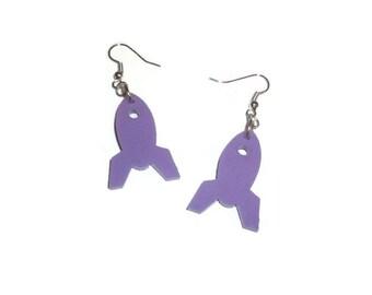 Rocket Ship Earrings, Pastel Lilac Lavender Dangle Earrings, Space Jewelry, Laser Cut Perspex, Kawaii