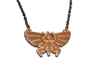Hylian Crest Necklace, Legend of Zelda, Triforce, Laser Cut Wooden Pendant, Hyrulian Crest