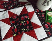 Hearts and Roses Mug Rugs - Valentines Day - Place Mats - Candle Mats - Pink - Red -White - Sawtooth Star - Set of 2
