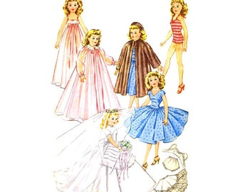 """McCall's 2162 Sewing Pattern Vintage 50s Sweet Sue Missy Doll Wardrobe Clothes Wedding Dress Coat Bathing Suit Nightgown 10 1/2"""" Size Dollie"""