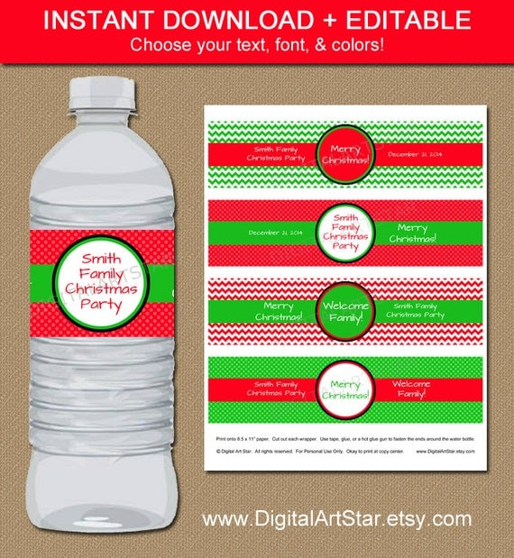 INSTANT Chevron Christmas Water Bottle Labels By