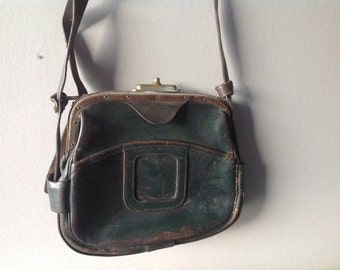 Vintage Leather Bag for a Train Conductor, Antique, France, SNCF