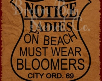 Vintage Stencil - Ladies Must Wear Bloomers - 12 x 14 - mylar stencil - signs - pillows - fabric - furniture
