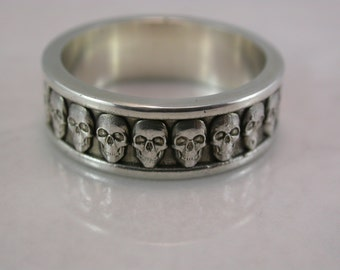 Wide Skull Band (Sterling Silver, Bronze, Stainless Steel) (Wide-7mm) (Size 4-13)