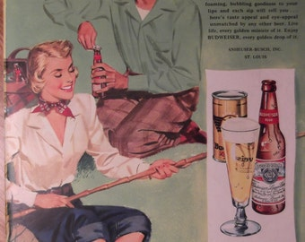 BUDWEISER BEER Couple Fishing Original Vintage 1940s Beer Ad Additional Ads Ship FREE Ready To Frame