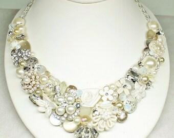 Champagne Statement Necklace- Bridal Bib Necklace-Champagne and Ivory Necklace- Pearl Bridal Bib- Brass Boheme Bib- Ivory Wedding Necklace