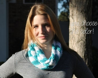 Personalized Solid Chevron Infinity Scarf Cowl Neckwarmer Crochet- Turquoise and White Chevron - Made To Order