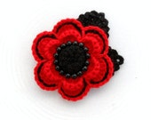 Crochet Brooch - Red Poppy Flower - Corsage Brooch - MADE TO ORDER