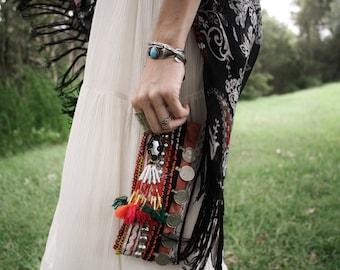 TRIBAL CLUTCH Purse Vintage Kuchi bag Coin purse Clutch bag Gypsy Bohemian Boho Tribal tassel Beaded bag Antique coins Beaded bag Small bag