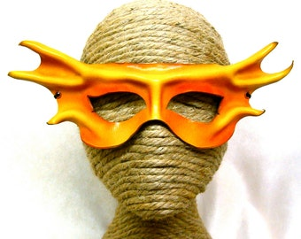 Winged Fairy Mask, Yellow and Orange Leather Halfmask, Batwinged Golden Eyemask, Handcrafted Sultry Sprite Costume(M93)