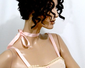 1920's Lingerie Peachy Pink Flapper One Piece Step In / Tissue Silk Romper / Art Deco Wedding Trousseau / Ribbon Work Rosette Details