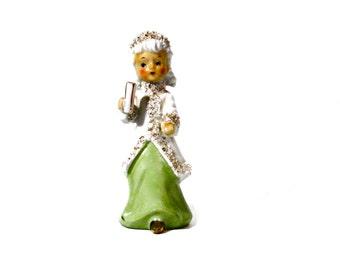 Vintage Christmas Angel Figurine Girl Winter // Made in Japan // Ardalt 1950s Collectible Art // Mid Century