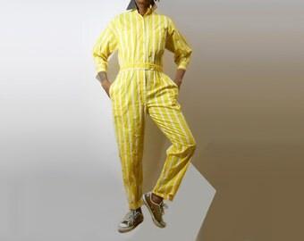 Jumpsuit/ Womens Romper/ 90s Romper/ 90s Jumpsuit/ Womens Jumpsuit/ Pastel Goth/ Playsuit/ 80s Jumpsuit/ 80s Romper/ Yellow Jumpsuit/ Flight
