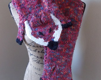 Knit Fox Scarf, variegated pink fox stole hand knit from virgin wool with pink red pink and purple, fox crossbody shawl, fuchsia wool shrug