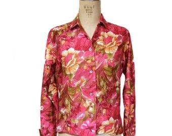 vintage 1960's floral blouse / Gabey / cotton / flowers spring / button front blouse / bold print / women's vintage blouse / tag size 14