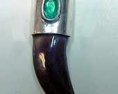 Genuine   EMERALD  & Silver caped Timber Wolf Claw   Pendant