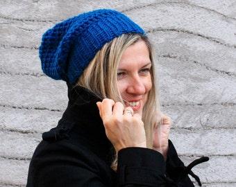 Women chunky crochet slouchy hat in blue winter fashion, Clio Hat