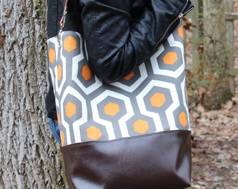Oversized Bucket Bag Tote in Gray and Orange Geometric Canvas with Dark Brown (Chocolate) Faux Leather