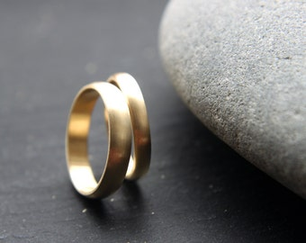 3mm + 4mm wedding rings in recycled 18ct yellow gold, D-shape profile, brushed finish - handmade to order