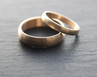 Wedding Ring Set: 9ct Yellow Gold Wedding Band Set, 3mm Womens Ring, 5mm Mens Ring, Half-Round Profile, Brushed Finish, Made To Order