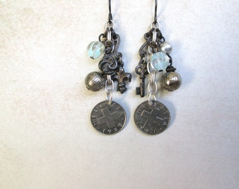 Collection Earrings 1957 coins OOAK by Nancelpancel on Etsy