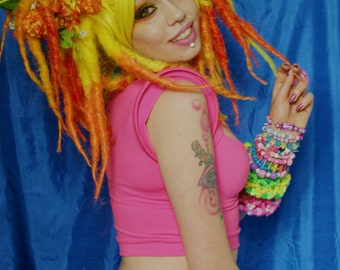 Summer - Dread wig with flower wreath