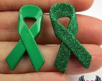 Jesse James Buttons 6 pc Green Ribbon Lyme Disease, Celiac, & Kidney Cancer Awareness Buttons OR Turn them Into Flatback Decoden Cabochons