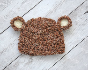 Newborn bear hat, baby bear hat, newborn photo prop, crochet bear hat, coming home outfit, baby boy clothes, infant boy, newborn bear hat