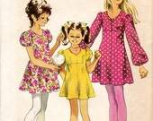 """Clearance 1970s Girls' Mini Dress Pattern - Size 12, Breast or Bust 30"""" - Simplicity 9848"""