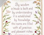 By Wisdom a House is Built - Proverbs Embroidery KIT in Color - Wedding Housewarming Gift
