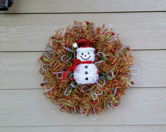 Mesh Snowman Wreath - READY TO SHP!!! - Lights up!