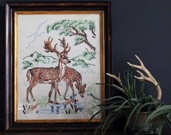 Vintage Doe And Buck Deer Embroidery Needlework Framed Art Antique Stitchery