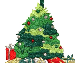 ID #8046 Christmas Tree with Star & Presents Embroidered Iron On Applique Patch
