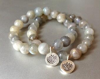 intuit. labradorite gemstone bracelet fine silver lotus