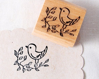 50% OFF SALE Bird on branch O1 Rubber Stamp