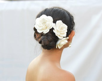 Set of 3 White Rose Hair Pin, White Bridal Hair Pin, White Flower Wedding Hair Accessories.