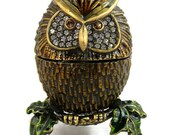 Holiday Sales Vintage Swarovki Crystals / Bejeweled / Bronze Finished / Brass Owl / Hinged Trinket Box / Magnetic Closure / Enameled Stand /