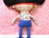 Pirate Rag Doll Plush - Captain - Ready To Ship