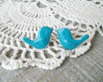 Lovely little birds studs, Blue Bird Earrings, Stud earrings, Hypoallergenic posts, Blue studs, Bird jewelry, Small gift under 20