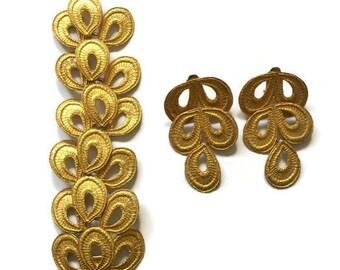 Vintage Mosell Golden Loop Articulated Bracelet and Clip Earirngs Set