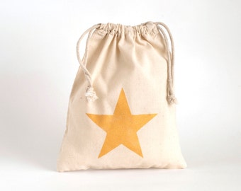 6 + party bags - hand printed with golden star on cotton pouch - favor bags - bachelorette party - hen party - children birthday party