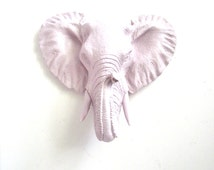 Small Faux Taxidermy Elephant Head Wall Hanging wall mount home decor: Eunice in pale light boysenberry sherbet