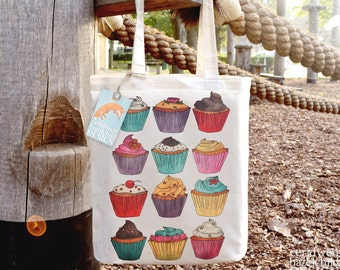 Cupcakes Tote Bag, Ethically Produced Reusable Shopper Bag, Cotton Tote, Shopping Bag, Eco Tote Bag
