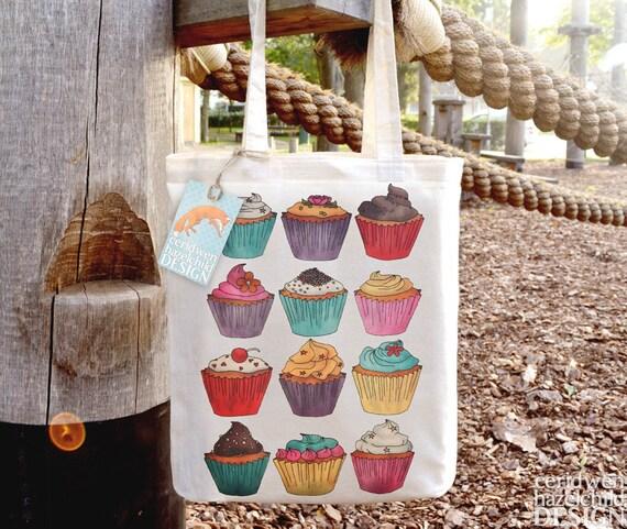 Cupcakes Tote Bag, Ethically Produced Reusable Shopper Bag, Cotton Tote, Shopping Bag, Eco Tote Bag