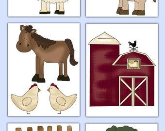 Farm Animal Wall Decals Etsy UK - Barnyard nursery wall decals
