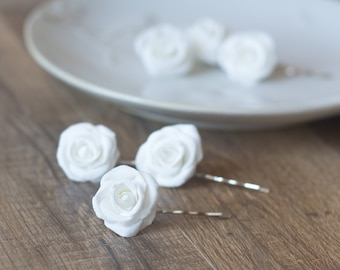 White rose hair clips - white rose hair pins, set of 3 - wedding hair accessories - flower clip - bridal hairpiece - bridal flowers for hair